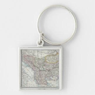 Balkan Peninsula, Turkey, Serbia, Europe Silver-Colored Square Key Ring
