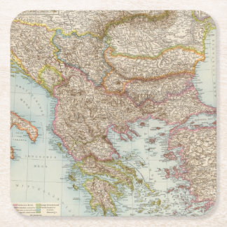 Balkanhalbinsel - Balkan Peninsula Map Square Paper Coaster