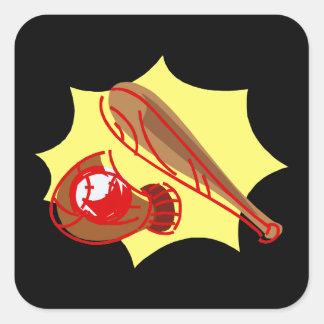 ball bat glove square sticker