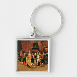 Ball during the Reign of Henri III, 1574-1623 Silver-Colored Square Key Ring