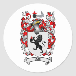 BALL FAMILY CREST -  BALL COAT OF ARMS ROUND STICKER