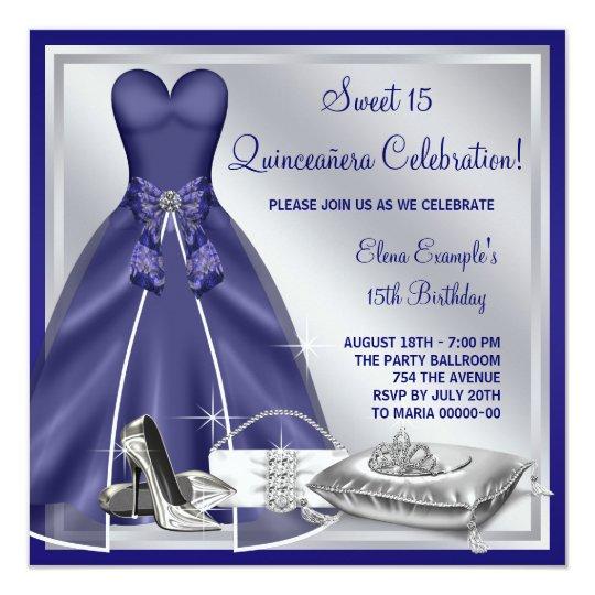 Ball Gown High Heels Royal Blue Quinceanera Card
