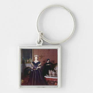 Ball gown of Mary Todd Lincoln Silver-Colored Square Key Ring