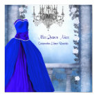 Ball Gown Royal Navy Blue Rose Quinceanera Card