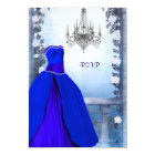 Ball Gown Royal Navy Blue Rose Quinceanera RSVP Card