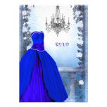 Ball Gown Royal Navy Blue Rose Quinceanera RSVP Personalized Invitation