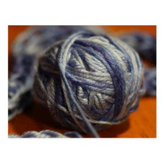 Ball of Blue Yarn Postcard