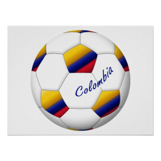 Ball of COLOMBIA SOCCER National flag Print