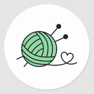 Ball of Knitting Yarn Craft - Custom Color Round Sticker
