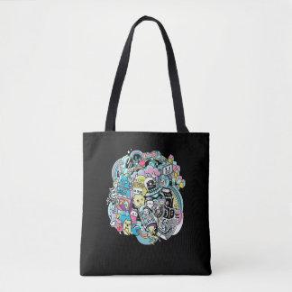 Ball of Robots Cartoon Tote Bag