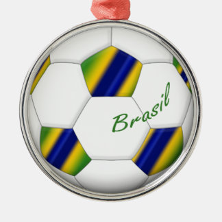 Ball of Soccer of Brazil and colors of the flag Silver-Colored Round Decoration