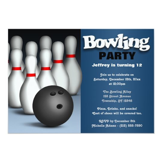 Ball & Pins Blue Bowling Birthday Party Invitation