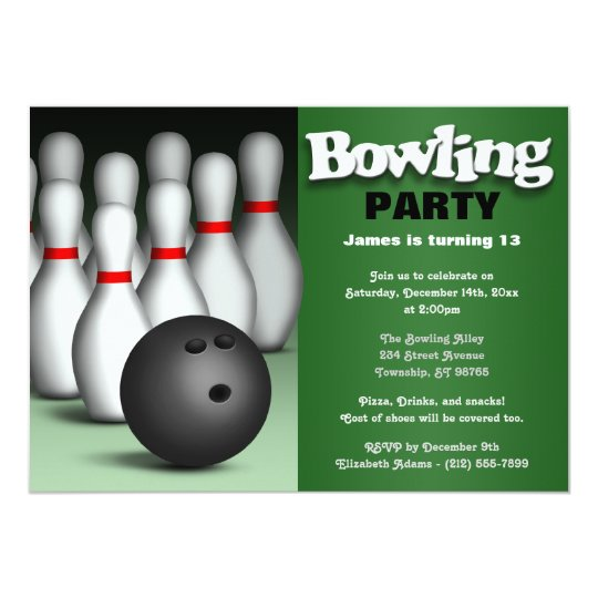 Ball & Pins Green Bowling Birthday Party Card