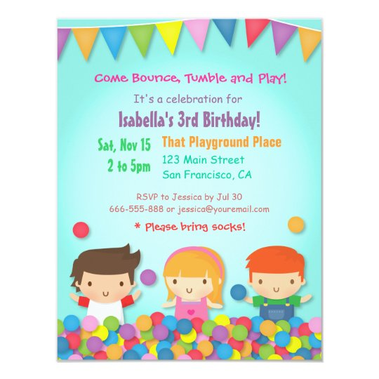 Ball Pit Cute Kids Birthday Party Invitations