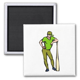 Ball Player Big Bat Square Magnet