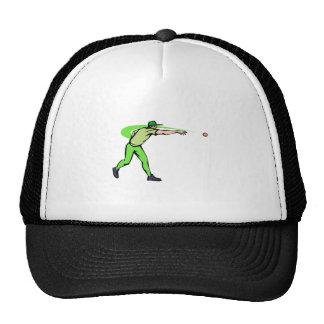 ball player throws ball trucker hats