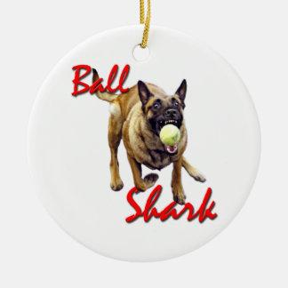 Ball Shark Belgian Malinois ornament
