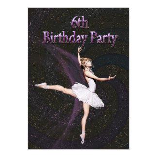 Ballerina 6th Birthday party invitation