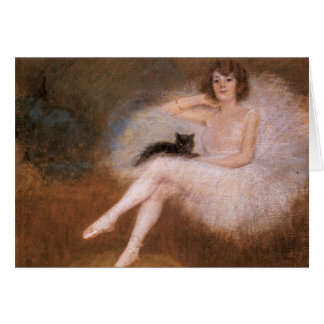 Ballerina and Black Cat Card