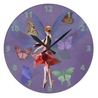 Ballerina and Butterflies Large Clock