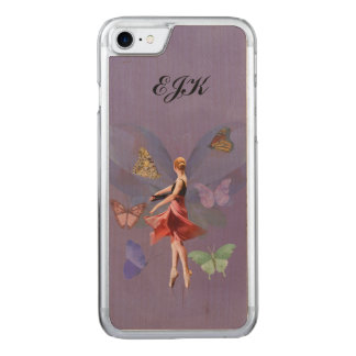 Ballerina and Butterflies, Monogram Carved iPhone 8/7 Case