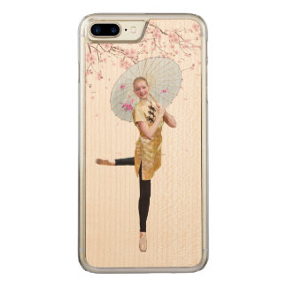 Ballerina and Cherry Blossoms Carved iPhone 8 Plus/7 Plus Case