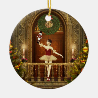 Ballerina and Nutcracker Ceramic Holiday Ornament