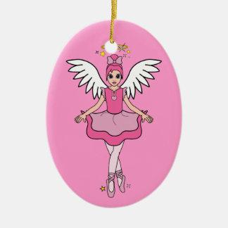 Ballerina Angel on Pink Christmas Ornament