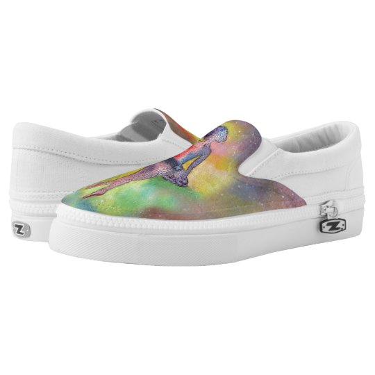 Ballerina Art  Custom Zipz Slip On Shoes Printed Shoes