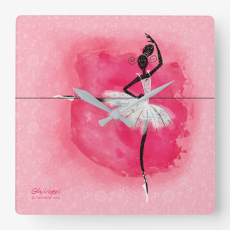 Ballerina at the barre square wall clock