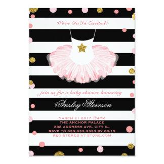 Ballerina baby shower invitation, tutu girl card