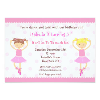 Ballerina Ballet Dance BIrthday Invitations
