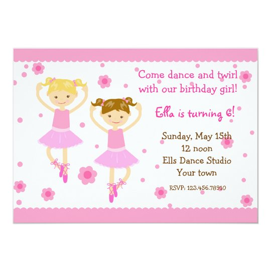 Ballerina Ballet Dancer Birthday Party Invitations