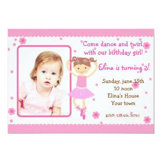 Ballerina Ballet Photo Birthday Party Invitations