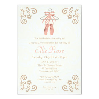 Ballerina Ballet Shoes Girl Birthday Invitation