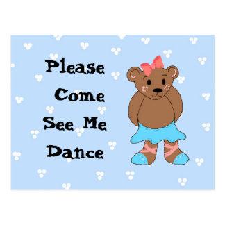 Ballerina Bear Dance Recital Invitation Postcards