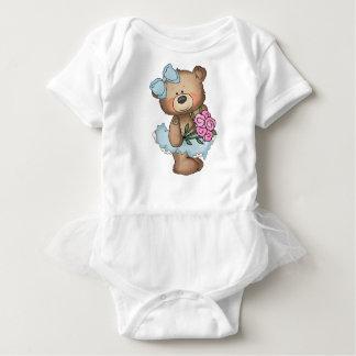 Ballerina Bear in Blue with Flowers Tutu Baby Bodysuit