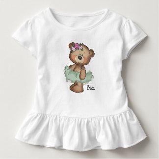 Ballerina Bear in Green Toddler Ruffle Tee