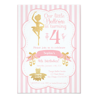 Ballerina Birthday Invitation in Pink and Gold