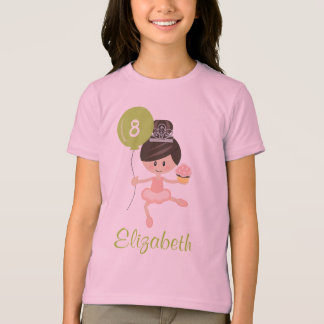 Ballerina Birthday Kids Ringer T-Shirt Brunette