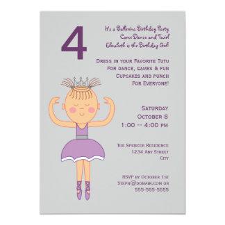 Ballerina Birthday Party 13 Cm X 18 Cm Invitation Card