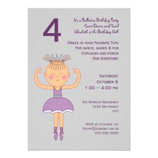 Ballerina Birthday Party Custom Invitations