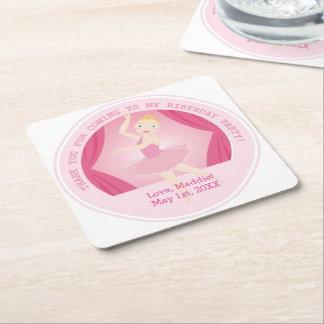 Ballerina birthday party square paper coaster