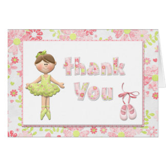 Ballerina Birthday Party Thank You Card