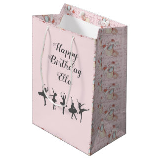 Ballerina Birthday Personalised Name Dancer Party Medium Gift Bag
