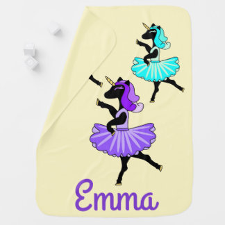 Ballerina black unicorn receiving blanket