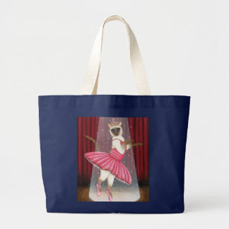 Ballerina Cat Chocolate Point Siamese, Pink Tutu,  Large Tote Bag