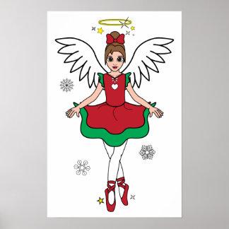 Ballerina Christmas Angel Poster