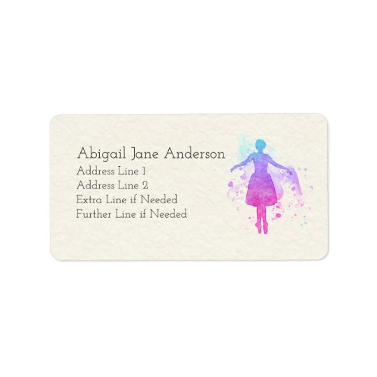 Ballerina - Colourful Paint - Your Details on this Address Label