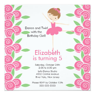 Ballerina Dance Birthday Invitation